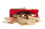 Scattered gold coins are in open hot red purse