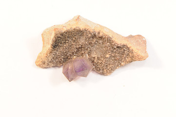 Amethyst crystals isolated on a white background