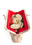 Silver and gold coins are in open hot red purse, isolated