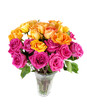 Bouquet of mixed red and yellow roses.