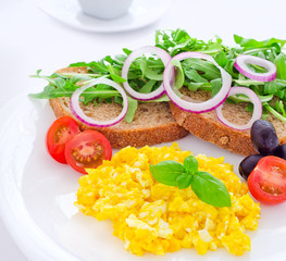 Healthy scrambled eggs breakfast