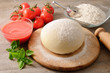 Pizza dough and ingredients (2