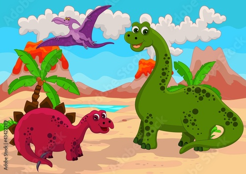 Foto op Canvas Dinosaurs Dinosaurs Family with background