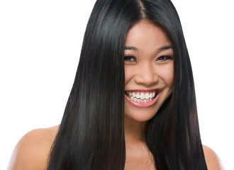 Beauty portrait of smiling asian girl smooth long straight hair