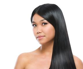 Beauty portrait of asian brunette girl smooth long straight hair