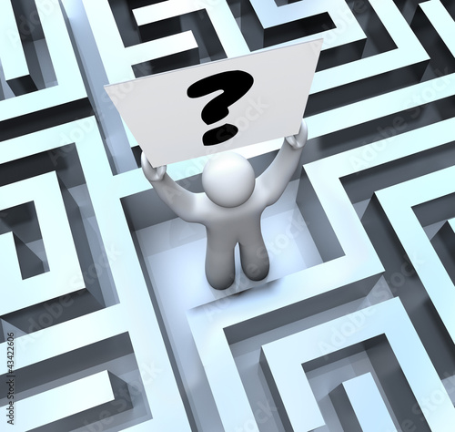 Person Holding Question Mark Sign Lost in Maze Labyrinth
