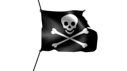 Skull and crossbones pirate flag fluttering in the wind.