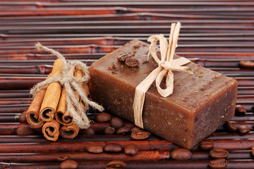 Hand-made soap on bamboo mat