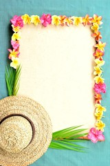 Lady's straw hat with plumeria