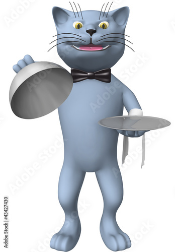 Three-dimensional image of a cat waiter