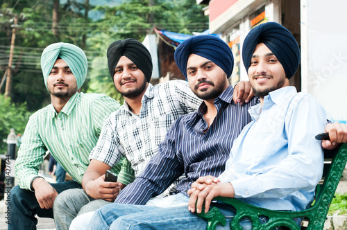 group of young indian man sikh