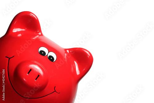 Leinwanddruck Bild Sparschwein rot