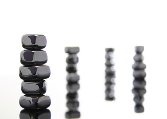 Stacked metallic stones