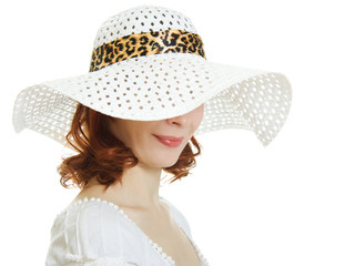 girl in the white hat hiding his eyes