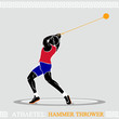 Greek art stylized hammer thrower in the competition