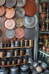 Copper Market in the Bazaar in Damascus, Syria.