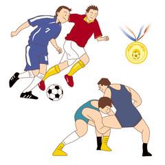 サッカー、レスリング