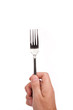 Right mans hand with empty metallic fork