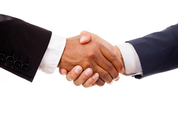 Multiracial handshake between african and a caucasian business m