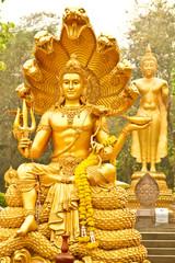 golden Buddha with 7 snake