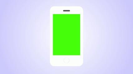 White Smartphone. Green screen and  Alpha matte