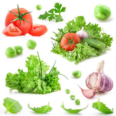 Collection of vegetables isolated on white background