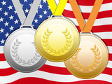 Medals with United States flag background