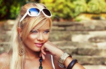 Wonderful blond women in nature