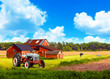 American Country with Blue Cloudy Sky
