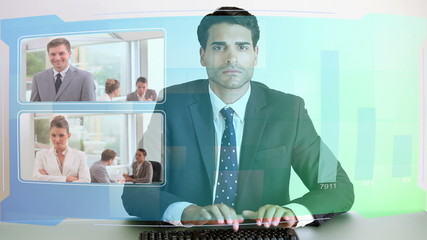 Video of business people looking at futuristic screens