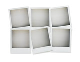 six blank polaroid pictures overhead isolated on white with clip