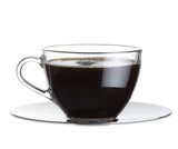 black coffee in a glass cup with clipping path