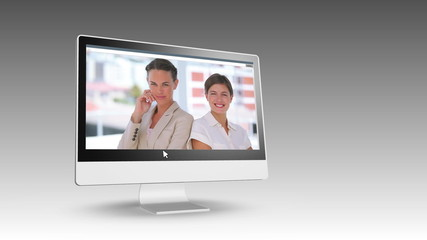 Smiling business people on videos