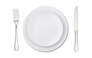 overhead view of an empty place setting isolated on white
