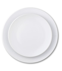 overhead view of an empty plate with clipping path