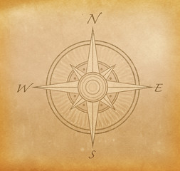 Grunge paper background with image of compass rose.