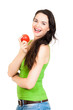Happy beautiful woman holding apple