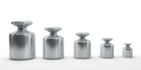 Row of calibration weights isolated on white.
