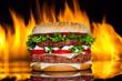 Hamburger with fire