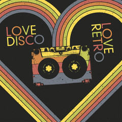 Love Disco, Love Retro. Vintage poster design template, vector,
