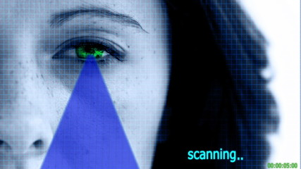 Eye scanner checking the the identity of a woman