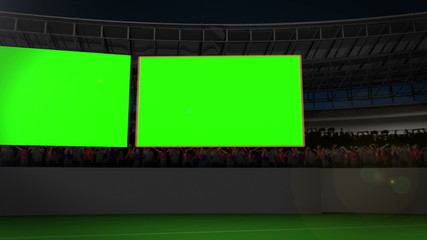 Chroma key screens on a stadium
