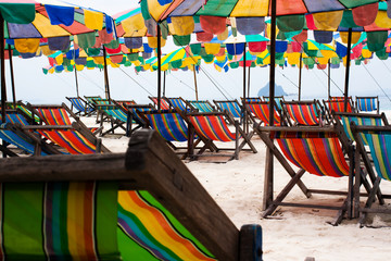 colorful umbrellas at beach