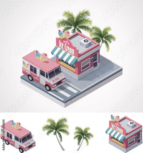 Vector isometric ice cream store and truck