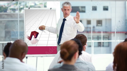 Businessman presenting a chart