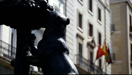 Symbol of Madrid. Statue of Bear, Puerta del Sol, Spain.