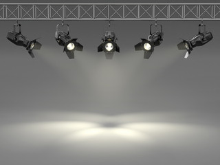 Spotlights illuminated wall. Space for text
