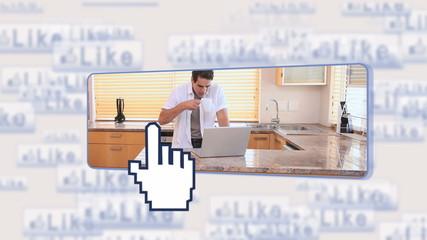 Man using social media
