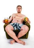 fat man eating hamburger