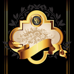 Vector decorative ornamental background with golden elements.